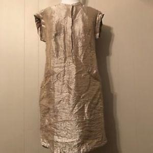 J.CREW Soft Lamé Soft Gold Shirt Dress w/ Pockets